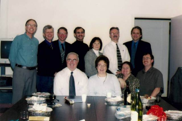 Taken at Wilbert Boone's retirement. Back Row (L-R) Lloyd Gill (first DE Physics teacher), Wayne Oakley (ADM when DE was instituted) Harvey Weir (founding director STEM~Net, director Continuing Studies, now DELTS) Dave Dibbom (Assiciate dean of Educ, later Dean, RIP sadly missed) Rachel Handrigan (AD, district 2), Wade Sheppard (Director Vista and CDLI) Rene Wicks (NLTA & founder of VTC) Front Wilbert Boone (Manager, curriculum section DOE, founding manager of DE program) Maureen Boone (Wilbert's wife, interpreter for deaf and hard of hearing) Jean Brown (Professor of Educ.) Me